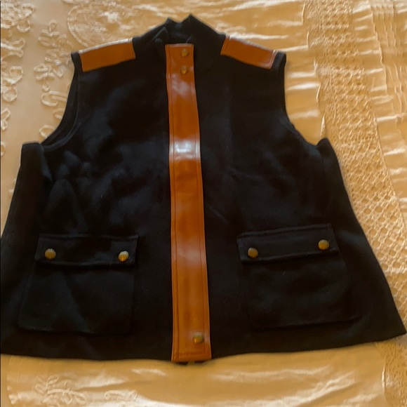 RALPH LAUREN leather trip sweater/jacket